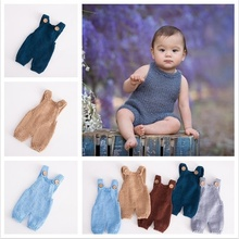 0-1 Month Knitted Wool Baby Rompers Pant Onesie  Newborn Photo Props Jumpsuit