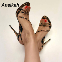 ac7fbdce53eb High Quality Aneikeh Sexy High Heels Sandals Summer Ankle Striped Thin Heel  Cross-tied Peep Toe Shallow Leopard Print Party Sandal Size 35-40