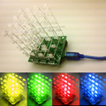 Новый 3D4X4X4 пикселей Светодиодный дисплей Комплект 3d куб kit Электронный DIY Kit/Младший 3D 4 4*4*4 высокое качество
