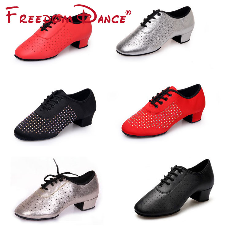 2019 Dancesport Shoes Ballroom Latin Dance Shoes For Women 4cm Heel Split Outsoles Lace-up Sneakers  All Size Free Shipping