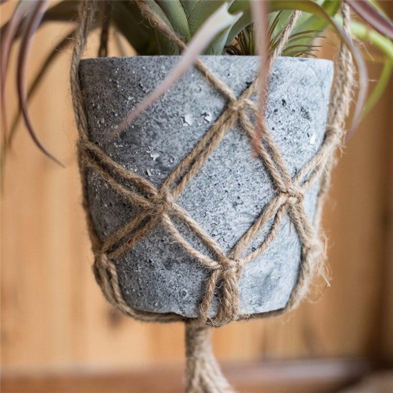 104cm handcrafted braided macrame jute cord plant hanger pot holder hanging basket for home diy. Black Bedroom Furniture Sets. Home Design Ideas