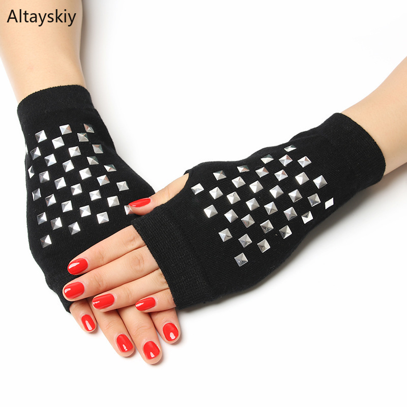 Gloves Women Solid Rivets Rhinestones Floral Embroidered Patchwork Half-fingered Womens Glove All-match Trendy Chic Leisure Warm