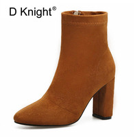 Sexy Pointed Toe High Thick Heel Ankle Boots Women Fashion Leisure Ladies Flock Shoes Girl With