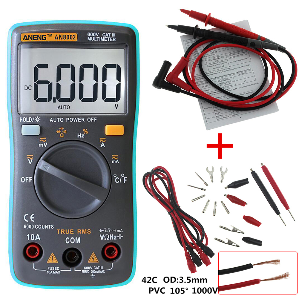 AN8002 Digital Multimeter 6000Counts AC/DC Ammeter Voltmeter Ohm Portable Voltage Meter Thermometer Temperature Tester newacalox electrical instrument lcd digital multimeter ac dc ammeter voltmeter ohm portable clamp meter tester tool