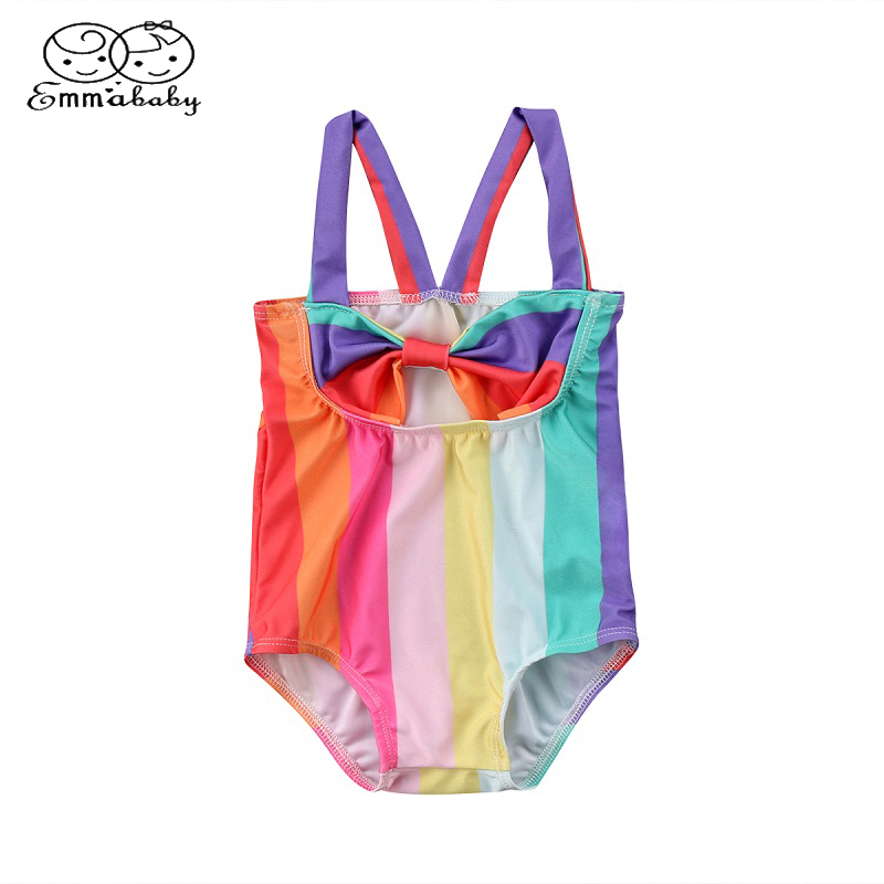 Emmababy Girls Rainbow Stripe Swimsuit 2018 Summer Kids Baby Halter One Pieve Swimwear Bathing Suit Beachwear Brazilian Bikinis