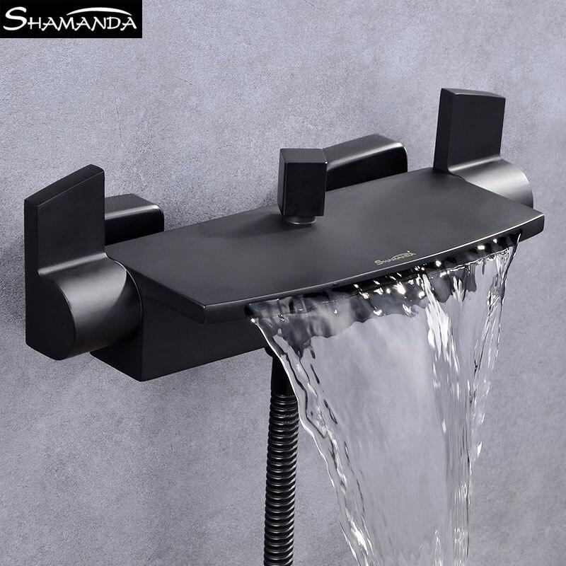 Твердый латунный хромированный двойной держатель водопад кран для ванной черный настенный смеситель для ванной смеситель для душа набор с