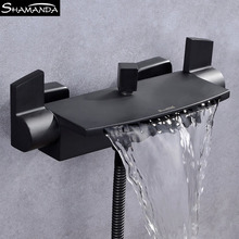 цена на New Design Free Shipping Luxury Brass Chrome Dual Holders Waterfall Bathtub Faucet Wall Mounted Bathroom Mixer Shower Set 2459