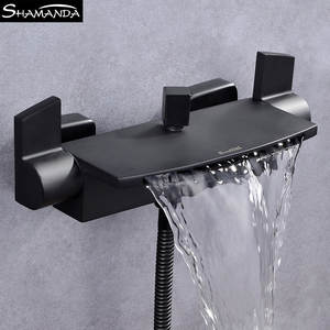 Solid Brass Chrome Dual Holders Waterfall Bathtub Faucet Balck Wall Mounted Bathroom Mixer Tap Shower Set with Sliding Bar