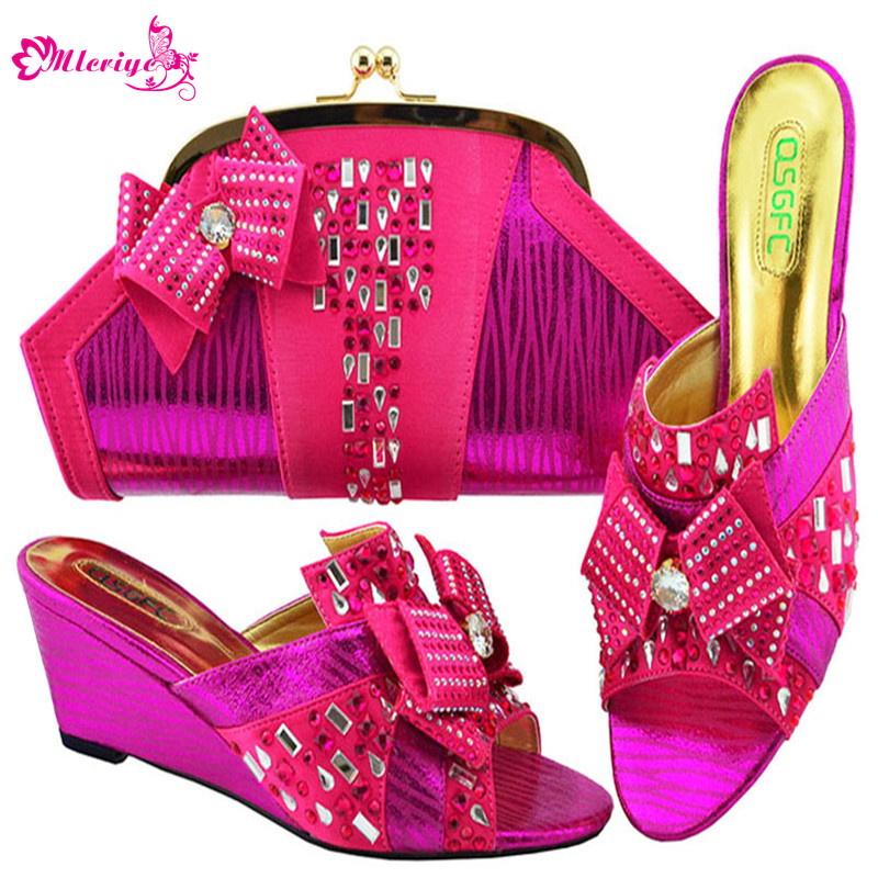 Newest African Shoes and Bag Matching Set with Crystal Hot Selling Women Italian Shoe and Bag Set for Women Wedding Wedges Heels