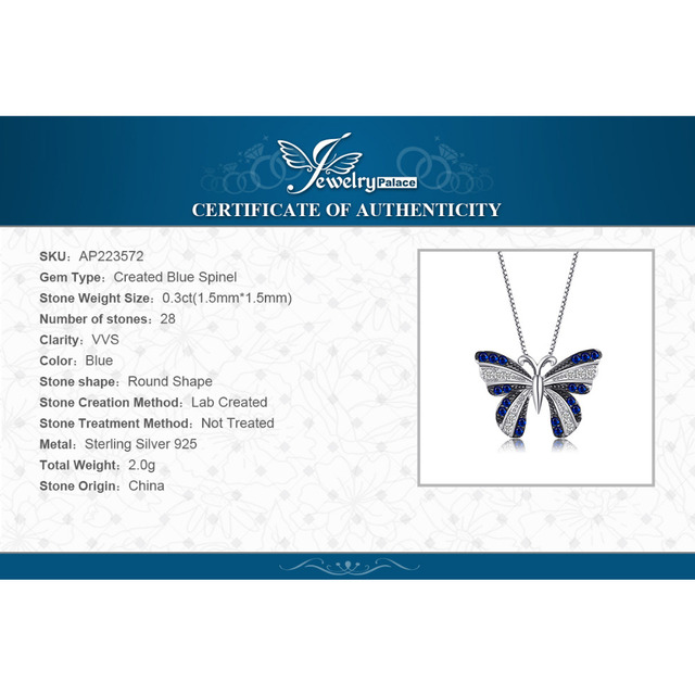 Blue Sapphire Butterfly Necklace