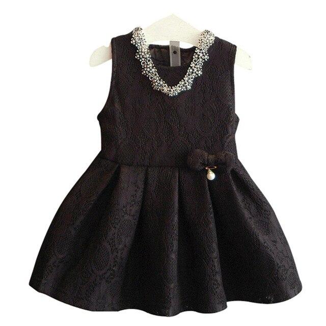 Vestido de La Muchacha elegante 2016 de La Moda Negro de Encaje Rojo Vestidos de Fiesta vestido de Boda de La Princesa de 2-6 T Niños Niñas ropa X1006