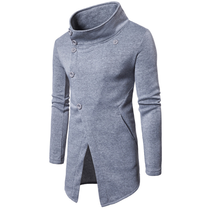 Mens Cardigan Long overcoats Men's Fashion Slant Button Sweater Jacket coat jaket men male tops 3colour