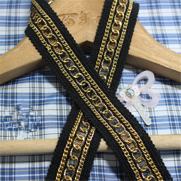 5yards 3cm width craft black braided lace trim gold metal for Craft ribbons and trims