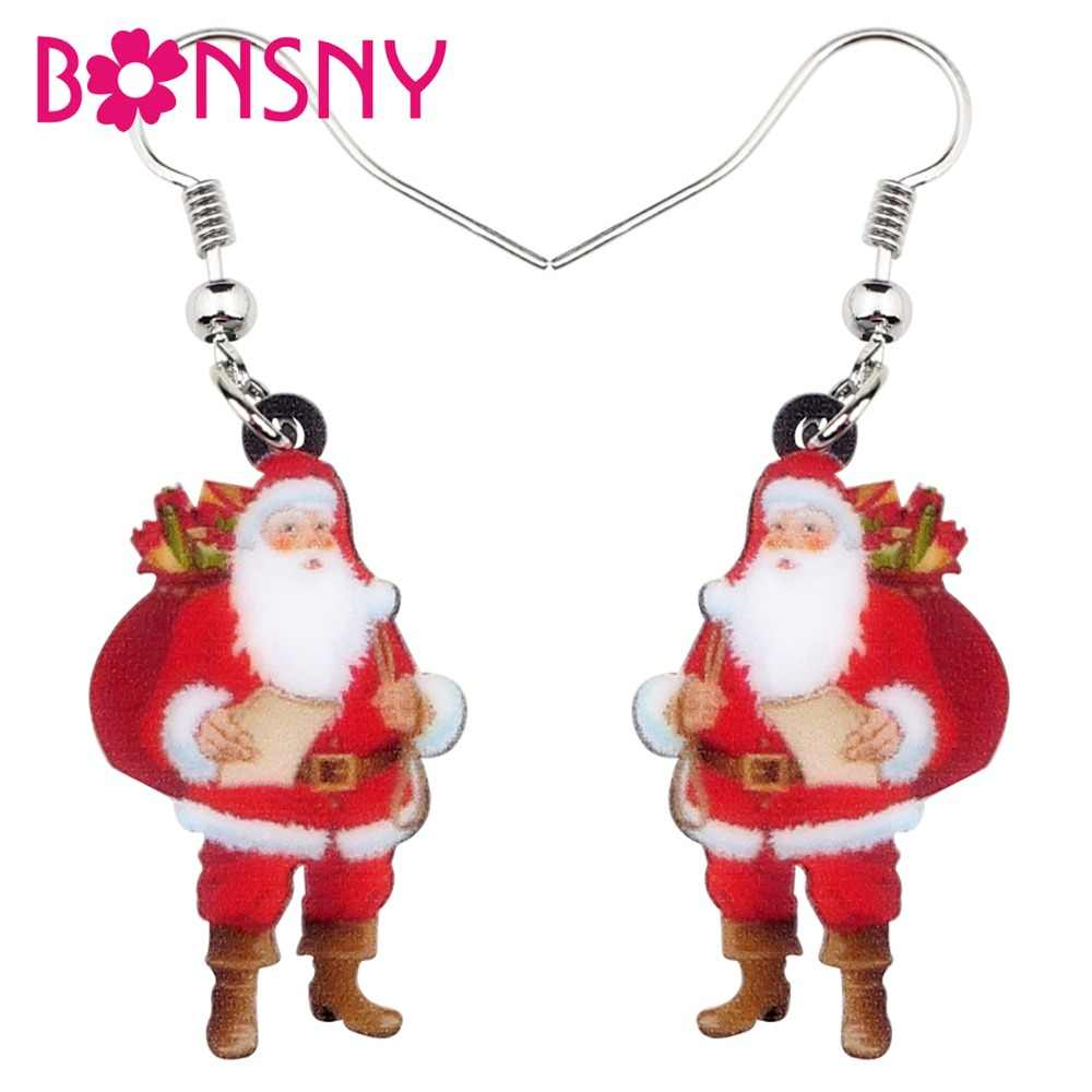 Bonsny Acrylic Christmas Gift Bag Santa Claus Earrings Drop Dangle Costumes Decoration Jewelry For Women Girl Gift Charms Bijoux