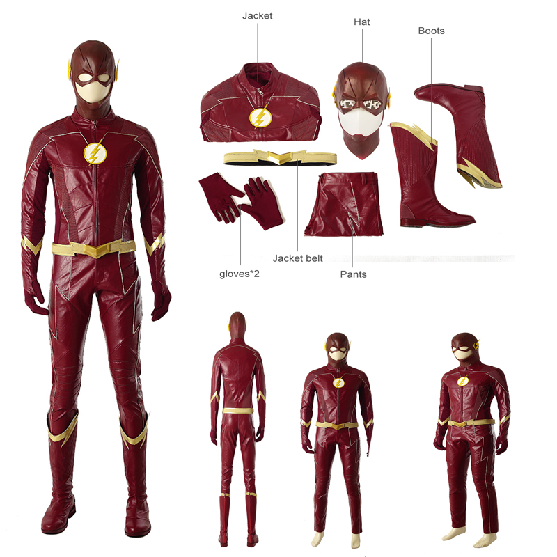 The Flash Season 4 SuperHero Costume Barry Allen Cosplay Costume Halloween Dress
