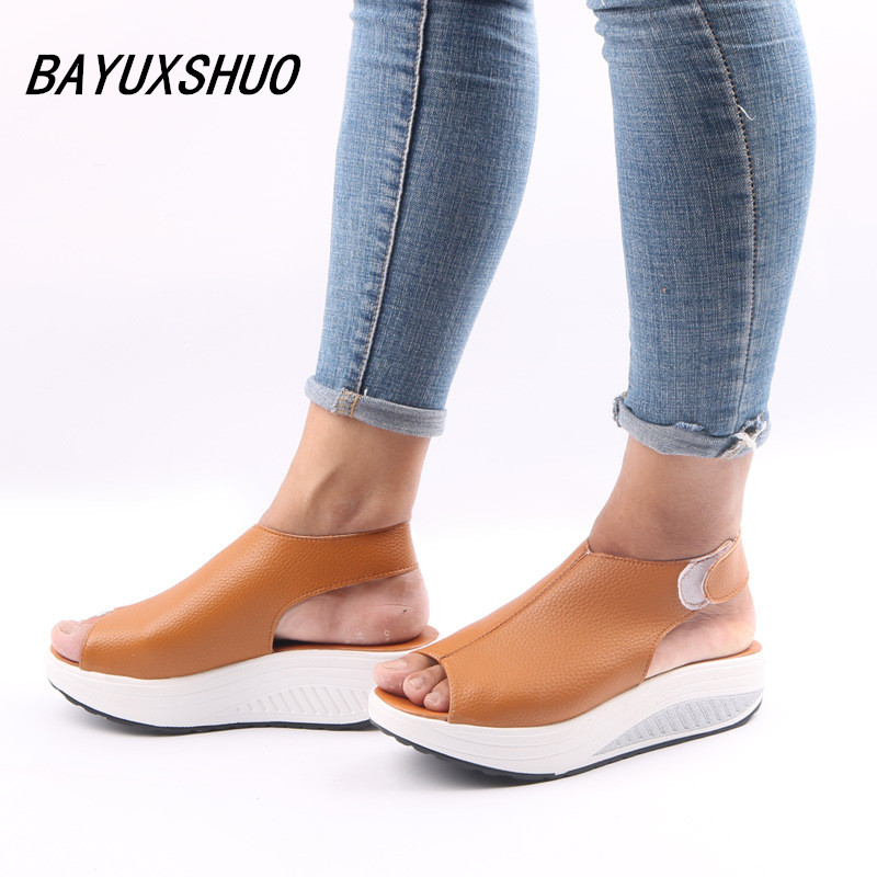 BAYUXSHUO Plus size 41 42 43 Summer Women Sandals Casual  Open Toe  Loop Shoes  Lady Platform Wedges Sandals  Walk Shoes Woman women wedges sandals 2016 sweet casual ladies platform gladiator sandals open toe flats dress shoes woman size 35 39 pa00366