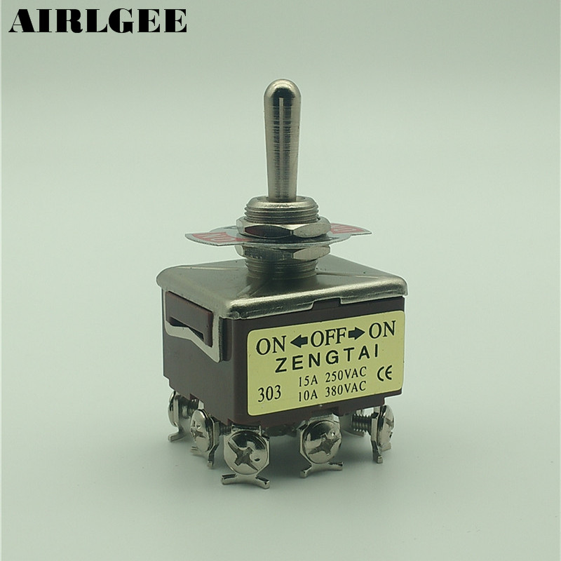цена на 250V 15A 3 Positions ON/OFF/ON 9 Pin Screw Terminal 3PDT Self Locking Toggle Switch