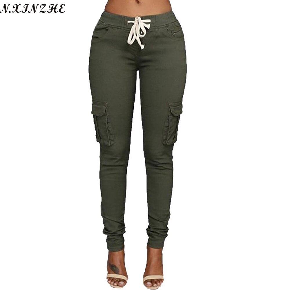 N.XINZHE Pantalones elásticos altos Mujeres 2018 otoño Lápiz delgado ocasional Pantalón de cintura femenina Cordón Primavera Ejército verde Pantalones S-XXL