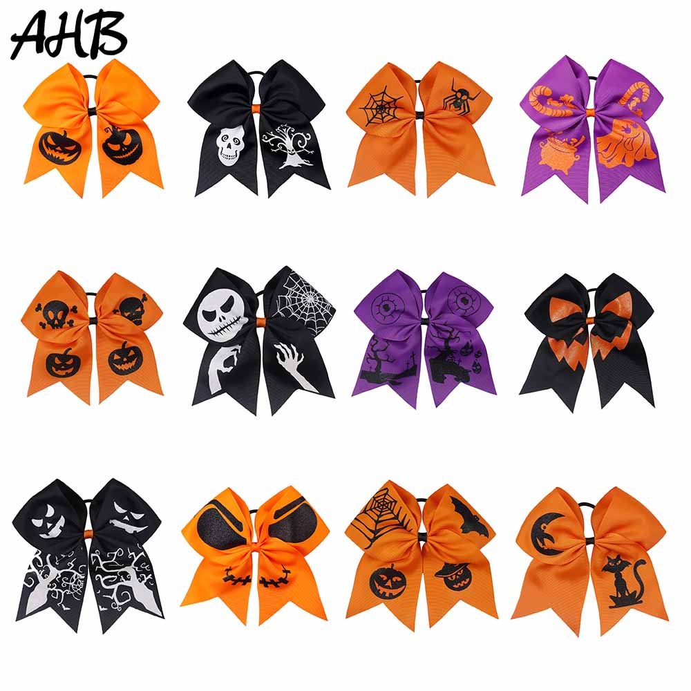 AHB Halloween 7 quot Large Cheer Bows for Girls Funny Ghost Printed Ribbon Hairbows Hair Rubber Band Party Kids Hair Accessories in Hair Accessories from Mother amp Kids