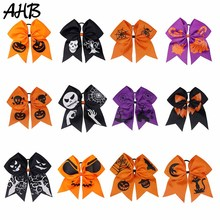 AHB Halloween 7 Large Cheer Bows for Girls Funny Ghost Printed Ribbon Hairbows Hair Rubber Band Party Kids Accessories