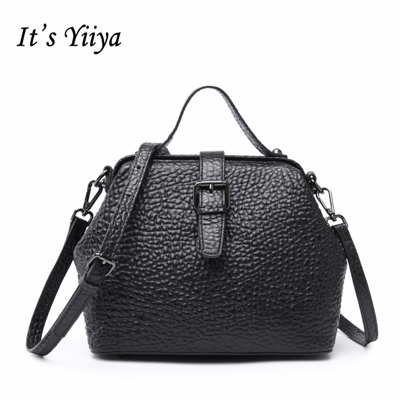 It's YiiYa New 4 Colors Women Genuine Leather HandBag Fashion Casual Vintage High Quality Girls Bag Messenger Bags SS1204