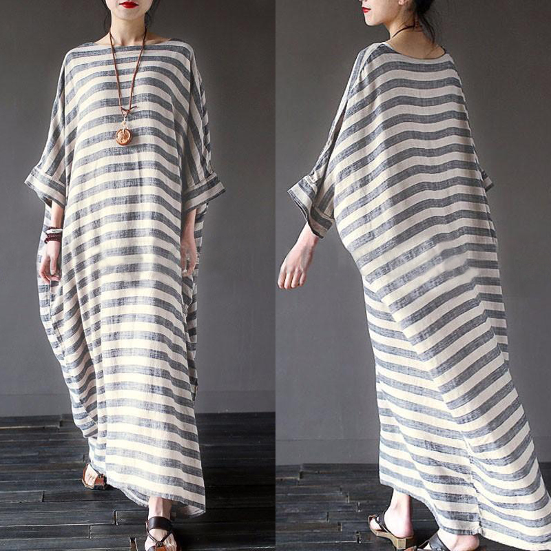 oversized Women long dress Plus size L-4XL casual loose round neck short sleeve vintage striped Dress Kaftan Long Maxi Dress