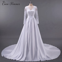 C V European Style V Neck Long Sleeve Sexy Lace Wedding Dress 2017 New Short Tail