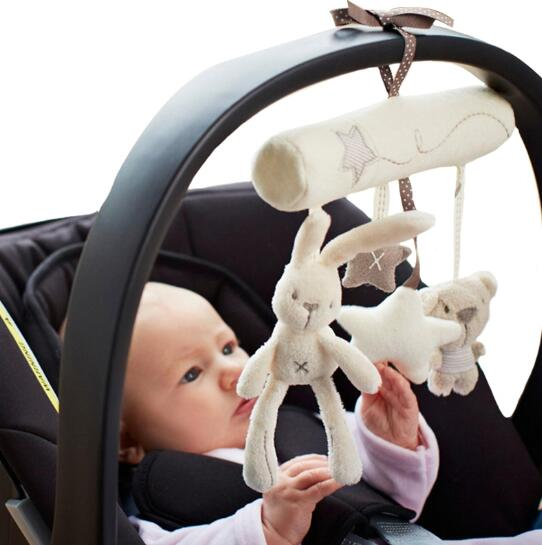 2019 New Hanging Bed Rabbit baby Hand Bell Safety Seat Plush Toy Multifunctional Plush Toy Stroller Mobile Gifts in Baby Rattles Mobiles from Toys Hobbies