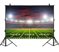5x7ft Football Pitch Soccer Stadium Match Lawn Night Lighting Polyester Photo Background Portrait Backdrop