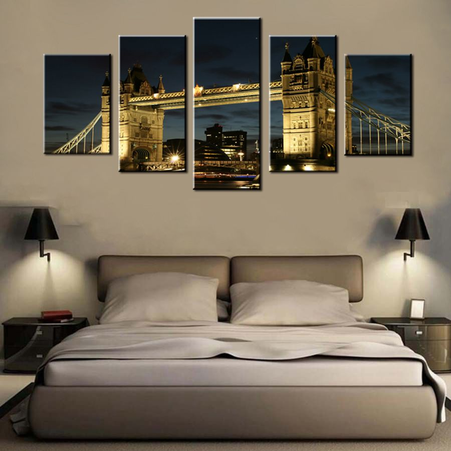 Home Decor Art of London England Tower Bridge Thames River Painting Picture Print on Canvas for Modern Room Decoration Best Gift
