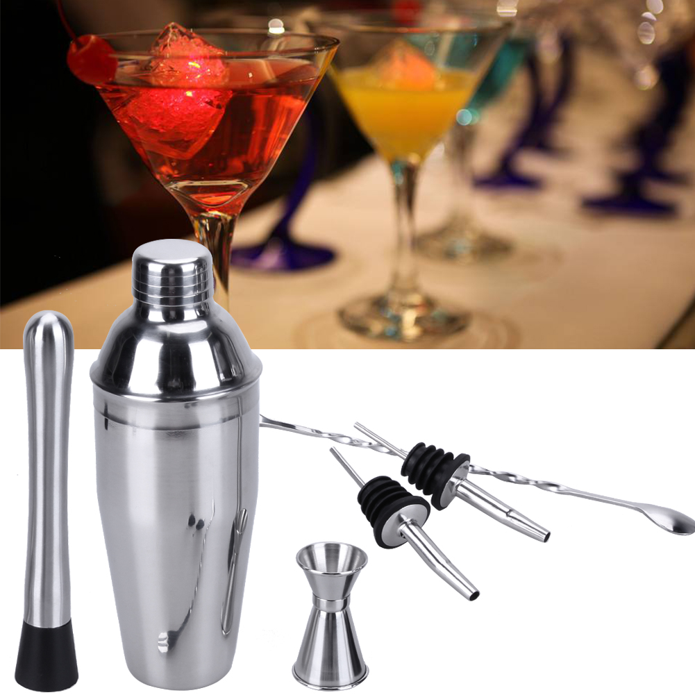 750ml Stainless Steel Cocktail Shaker with Swizzle Stick Mixing Spoon Set 6pcs Wine Martini Mixer Bartender