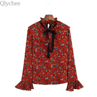 Qlychee Flare Sleeve Floral Ruffle Pleated Blouse Women Summer Long Sleeve Bow Tie Chiffon Shirts