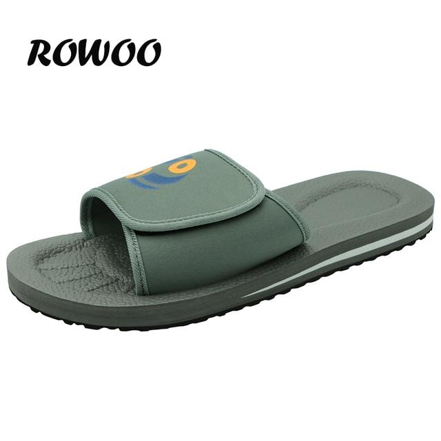 Comfortable Bathroom Slippers for Men Summer Massage Home Slippers Rubber Sole non-slip Gray Slide Beach Shoes Slide Sandals