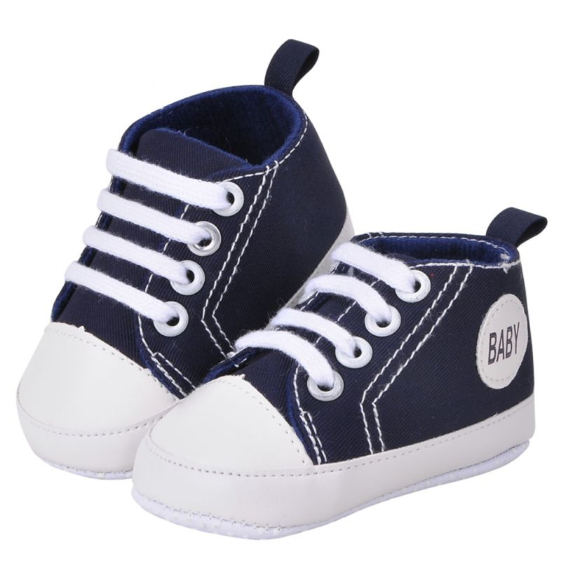 2018 Casual Baby Shoes Kids Toddlers Canvas Cotton Crib Shoes Lace Up Prewalkers Hot Selling Solid Color First Walkers 11-13