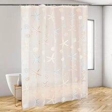 Clear PEVA Modern Shower Curtain Seaside Style Waterproof Mildew Bathroom With 12pcs Hooks Metal Grommets 180*180cm