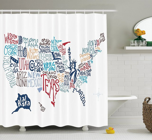 USA Map Shower Curtain Culture Tourist Names Of American Town In Colorful Artful Typography City Design