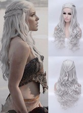 Silver Daenerys Targaryen Cosplay Wig Dragon Mother Long Wavy Heat Resistant Halloween Party Cosplay Costume Wig