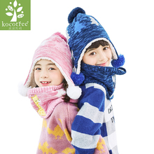 2 Pcs Baby Autumn Winter Warm Knitted Hat with Scarves Hot Sell for Children 1-10 Years Old Boys Girls Korean children Set