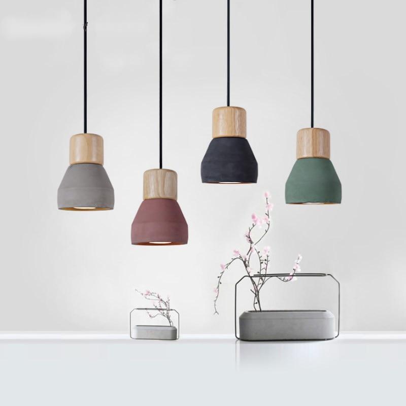 De Style Country américain ciment Pendentif Lumière pour cuisine chambre Prise Droplight d'intérieur en bois Décoration luminaires Suspendus