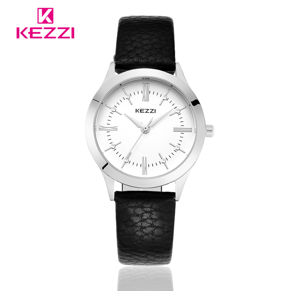 The New Listing KEZZI Watch Women Elegant Leather Strap Roman Number Casual Quartz Wristwatch Ladies Simple