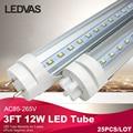 LEDVAS 3ft 12W  T8 LED Tube Light Integrated Tubes Led Double Sides 90cm SMD2835 Led Fluorescent Lights AC85-265V#12W-25