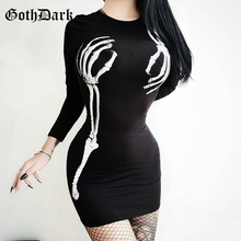 Goth Dark Black Punk Grunge Gothic Dresses Print Skinny Harajuku Autumn 2019 Female Mini Dress Vintage Aesthetic Longsleeve Sexy
