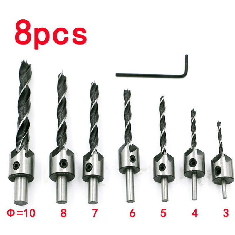 7pcs Countersink head Drill Bit Set Reamer Woodworking Chamfer 3mm-10mm Core Drilling Tools & 1 x L-wrench HSS Drills 4241