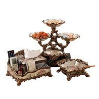 European style fruit platter creative high end living room household tea table divided dry fruit plate three sets of interior