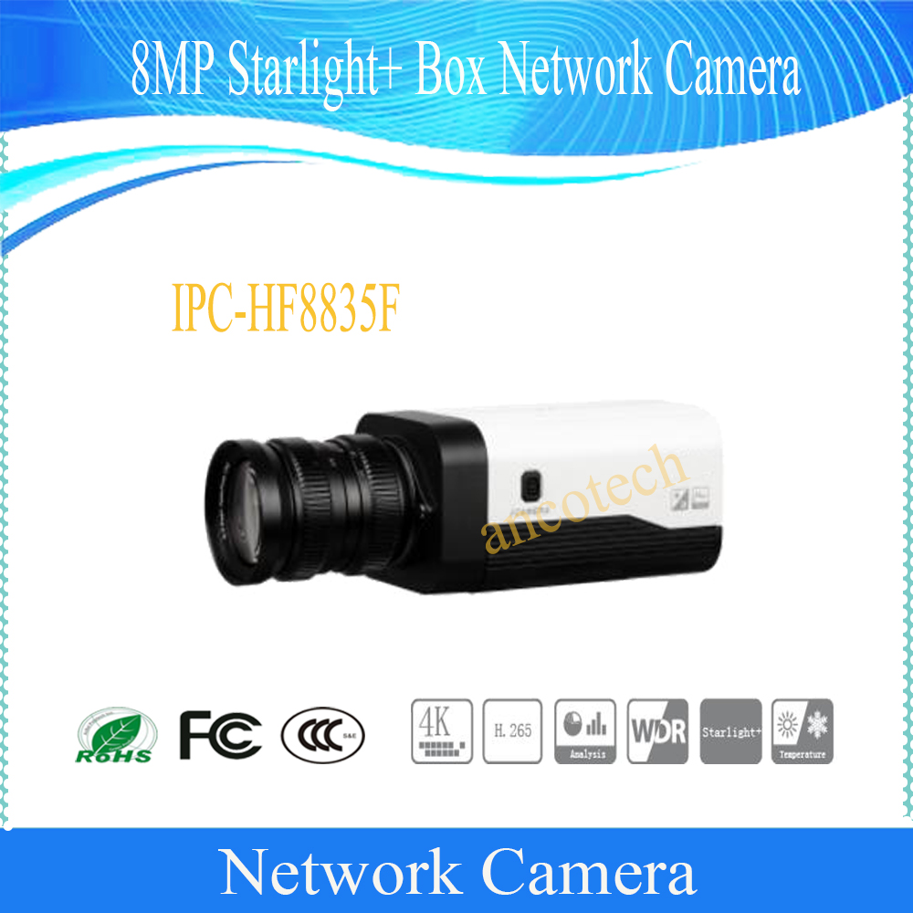 Free Shipping DAHUA 8MP 4K Starlight+ Box Network Camera without Logo IPC-HF8835F free shipping dahua cctv camera 4k 8mp wdr ir mini bullet network camera ip67 with poe without logo ipc hfw4831e se