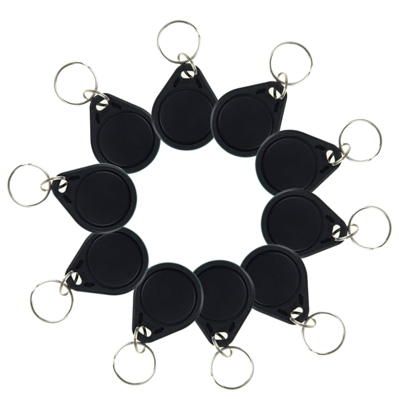 10pcs RFID key tags black keyfobs 13.56 MHz IC keychains NFC tags ISO14443A MF Classic® 1k nfc rfid key card access control