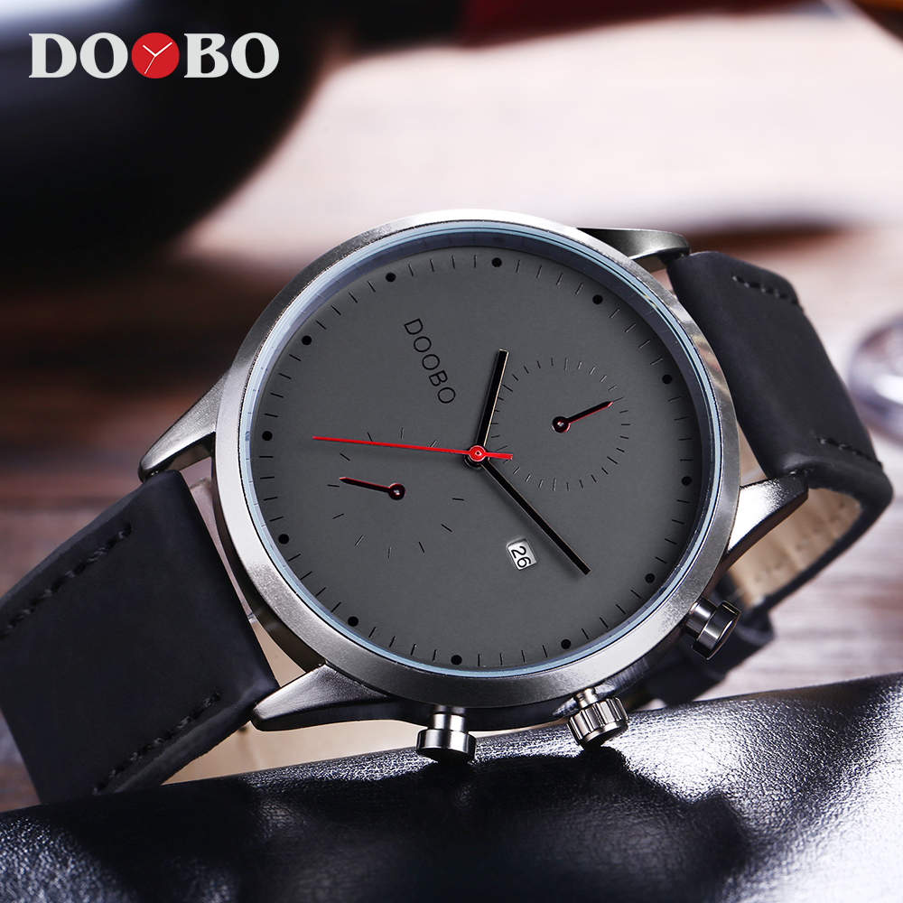 Mens Watches Top Brand Luxury Leather Fashion Casual Sport Clock Quartz Watch Men Military Wristwatches Relogio Masculino DOOBO forsining fashion brand men simple casual automatic mechanical watches mens leather band creative wristwatches relogio masculino