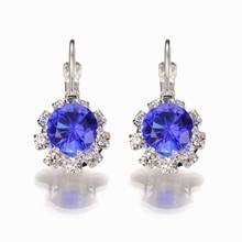 Trendy Crystal Drop Earrings for Woman Inlay Zircon Silver Plated Small Round Earring Fashion 2018 Modern Jewelry