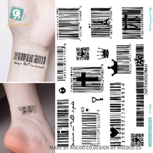 Fashion Waterproof Temporary Tattoos For Men And Women Barcode Design Large Arm Tattoo Sticker SC-809