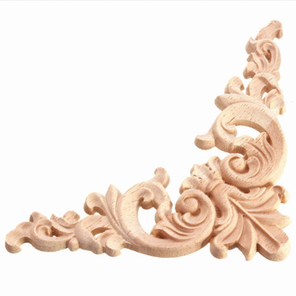 Carved Corner Onlay Oak European Style Applique Unpainted Wood